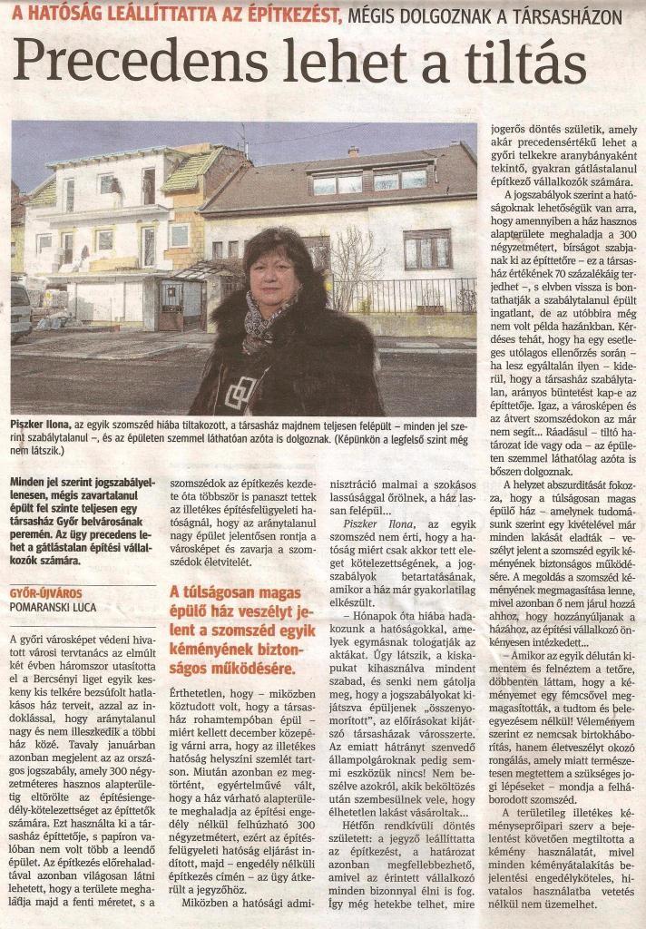 Kisalföld, 2017. 01. 27. szabálytalan építkezés